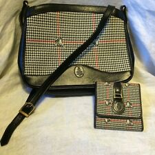 Mark Cross Purse Crossbody Shoulder Bag w Wallet Houndstooth Black Red Italy