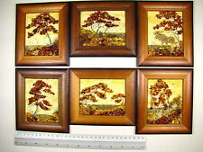 Hand Made Mosaic Baltic Amber Natural Wooden Pictures #127 LOT of 6pcs