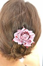 Statement wood hair stick + pink GENUINE LEATHER ROSE handmade flower hair fork