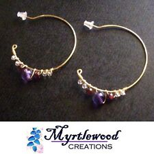 Myrtlewood's Handmade - Fluorite Garnet Amethyst WIRE-WRAP EARRINGS Gold Plated