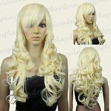 70cm Light Golden Blonde Heat Styleable Bang Sexy Curly Long Cosplay Wigs 70_LGB