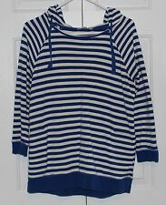 Women's GAP Blue & White Striped Hoodie Size Medium 3/4 Length Sleeves Pockets