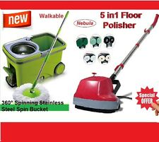 New 5 in1 Floor Polisher +360°Spinning Stainless Steel Spin Mop Walkable Bucket
