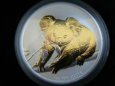 2010 Australian 1oz Silver, gold plated, Gilded,  Koala Coin #847, Perth Mint