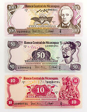 Set of 3 diff. Nicaragua 1979 10, 50 and 100 Cordobas paper money Au-Unc.
