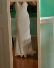 demetrios ivory shell pearl encrusted halter wedding dress with mini train