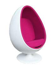 EGG CHAIR poltrona girevole a forma di uovo in velluto ROSA e scocca BIANCA