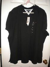 Ralph Lauren Jeans Co. black cottony knit top long-sleeved embellished NWT 3X