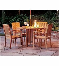 "LEVEB 5 PC DINING TEAK SET GARDEN OUTDOOR PATIO GARDEN FURNITURE 48"" ROUND TABLE"
