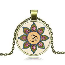 Vintage Yoga Lotus Cabochon Photo Bronze Glass Chain Pendant Necklace DY33