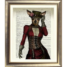 ART PRINT ON ORIGINAL ANTIQUE BOOK PAGE Dictionary Old DOG Animal STEAMPUNK Wall