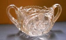 VINTAGE DEEP CUT GLASS HEAVY SUGAR BOWL SWIRLING STAR FLOWER AMERICAN BRILLIANCE