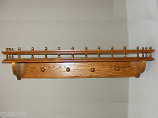 """36"""" LONG DECORATIVE WOOD WALL HANGING SHELF WITH PLATE GROOVE RAIL HANGING PEGS"""