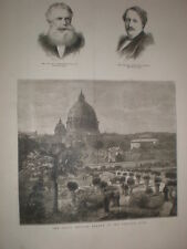 Private Garden of the Pope Vatican City Rome Italy 1878 old print