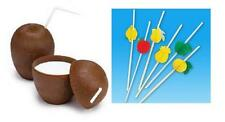 24 COCONUT CUPS + 24 TISSUE FRUIT STRAWS 16oz Wood Style Luau Free Shipping