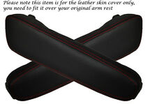 RED STITCHING FITS BMW E34 E32 2X LEATHER ARMREST SKIN COVERS ONLY