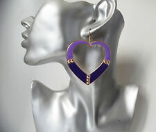 "LARGE purple & gold tone heart shaped big hoop drop / dangly earrings 2.5"" / 7cm"