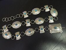 Rare Alex Galvin Signed Navajo Concho Belt Sleeping Beauty Turquoise .925 Silver