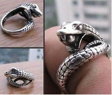 Tribal jewelry Tibet silver carved snake ring