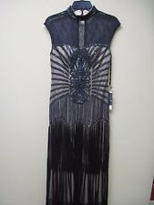 Nwt $700 SUE WONG Black & Nude Beaded High Illusion dress gown # W4500 size 4