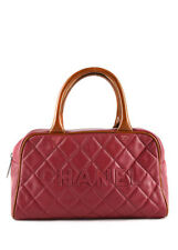 AUTH CHANEL Pink Caviar Leather Quilted Bowler Satchel Handbag BC0851 MHL