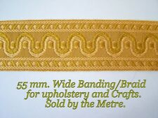 "Gold/Ivory Braid/Banding 2.1/4""(55 mm.) wide. For Upholstery & Crafts."