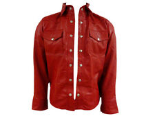 Large Size Men's Soft Genuine Real Nappa Red Leather Shirt Brand New LLL-223R