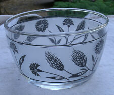 Vintage Desert Dish w/ Wheat & Flower Design,clear glass,black & frosted,1960s