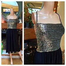 Vintage 70s Toni Todd Sequin Disco Ball Accordion Pleat Swing Glam Party Dress M