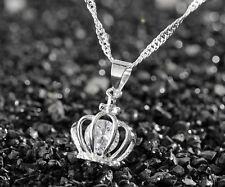 925 Silver plating Fashion Women Crystal Rhinestone Necklace Pendant Chain #10
