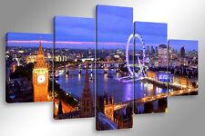 Quadro Moderno 5 pz. LONDRA SKYLINE 5 pz. cm 150x90 arredamento stampa su tela