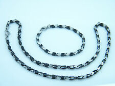 NECKLACE AND BRACELET STAINLESS STEEL CASSIC LINK CHAIN SET-BLACK/SILVER