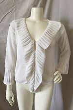 Rico White 100% Cotton Hand Made Cardigan Sweater w/ Hook Front Closure Sz. S/M
