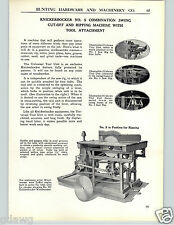 1928 PAPER AD No # 5 Knickerbocker Swing Cut Off Ripping Saw Machine Circular