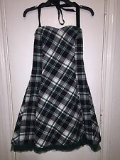 Vexy Womens Steampunk Gothic Lace Up Halter Dress Green Plaid Tulle Size Small