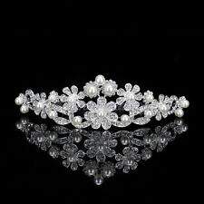 Pearls Tiara Wedding Bridal Hair Comb Crystal Rhinestone Crown Floral Headband