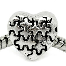 Autism Awareness Charm - Heart Puzzle Bead For European Charm Bracelets
