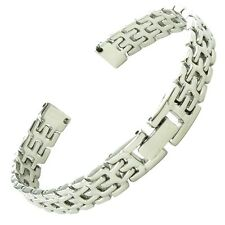 8mm Speidel Silver Tone Ladies Stainless Steel Watch Band With Center Clasp