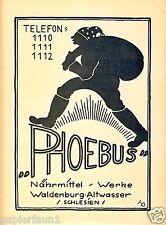 Nährmittel Phoebus Waldenburg Altwasser Reklame 1923 Walbrzych Stary Zdroj (N)