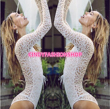 New Women  Lace UP Long Sleeve Sexy Bodysuit  Deep V-Neck  Short Jumpsuit