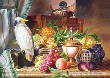 3000 pcs jigsaw puzzle: Still Life With Fruit and a Cockatoo, Josef Schuster