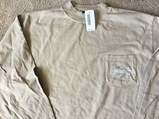 Harley Davidson Long Sleeve Front Pocket Mock Beige Shirt NWT  Men's Large
