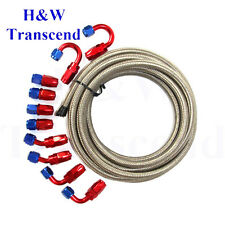 AN4 Stainless Steel Braided OIL FUEL line hose -4AN +Fitting Hose End Adaptor LS