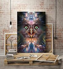 Complete Awareness - Owl Visionary Art (Psychedelic, Fractal, Ayahuasca)