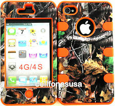 Apple IPhone 4 4s Hybrid Cover Case Silicone Branch wth Leaves Mossy Camo/Orange