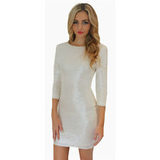 New Women 3/4 Sleeve Sequin Cocktail Party Mini Dress Stretch Bodycon Gown Skirt