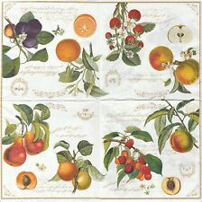 2 Serviettes en papier Fruits du jardin - Paper Napkins Fruits Garden