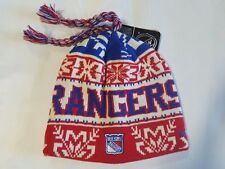 New York Rangers Knit Beanie Toque Winter Hat Skull Cap NHL New with Braids