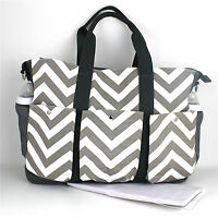 Nappy Diaper Bag Large Double Hold-It-All Chevron Changing Bag & FREE Mat