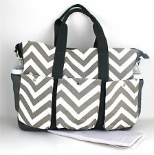 Pañal pañales bolso Grande Doble hold-it-all Chevron bolso cambiante & libre mat